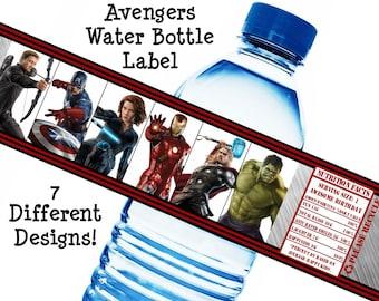 Avengers Birthday Water Bottle Wrap Avengers Party Water Bottle Avengers Water Bottle Iron Man Captain America Printable Instant Download