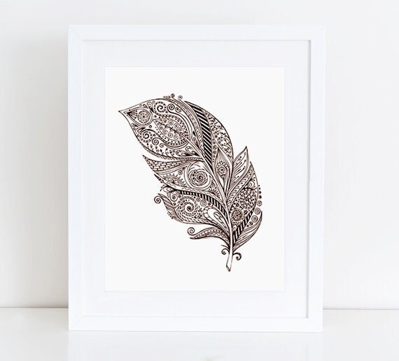 Abstract Indian Feather Print Native by PastelPrintablez ...