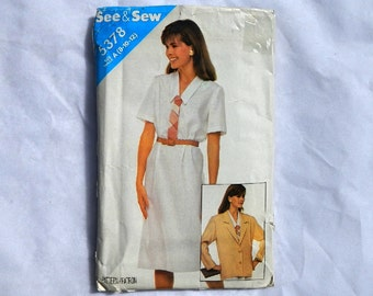 See & Sew by Butterick Misses Jacket and Dress Sewing Pattern 5378 Vintage 1985