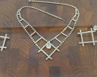 Funky 70s Crisscross Square Design Rhinestone Necklace and Earrings Parure Prong Set Disco Costume Jewelry