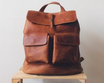 HandMade LEATHER BACKPACK / Hipster Rucksack from light brown/orange leather