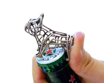 French Bulldog Wireframe Keychain Bottle Opener