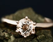 Betty 6mm Round Morganite 14K Rose Gold Solitaire Engagement Ring Wedding Ring Promise Ring Anniversary Ring (Bridal Wedding Set Available)