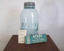 Antique canning jar Atlas blue half gallon jar dropped A Atlas Strong Shoulder Mason with lid
