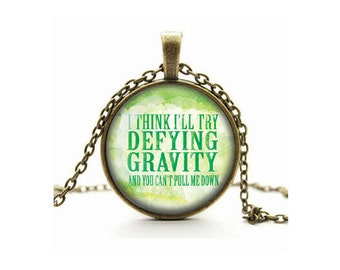 Wicked The Musical - Defying Gravity Pendant Necklace Glass Cameo Cabochon Tile Necklace Jewellery