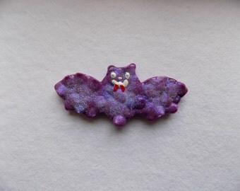 Pastel Goth Glittered Purple Bat Magnet