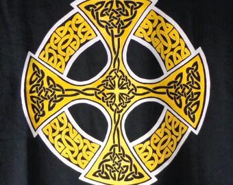 Celtic Cross T-Shirt, Traditional Celtic cross shirt, black t-shirt with white and gold Celtic cross, original t-shirt celtic design
