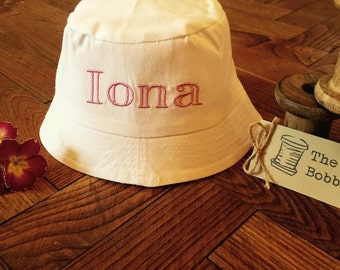 Bucket Hat Personalised Sun Hat Embroidered Summer 100% Cotton Bucket Hat Personslised Embroidered Name