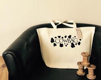 Canvas Bag Cowbag! Tote shopper bag cotton shopping handbag humor handmade embroidered Funny Bag Gifts for her