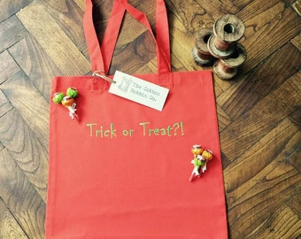 Trick or Treat Children's Halloween 100% Cotton Orange Tote Bag Sweetie bag Embroidered Trick or Treat Cotton Bag Personalised Bag