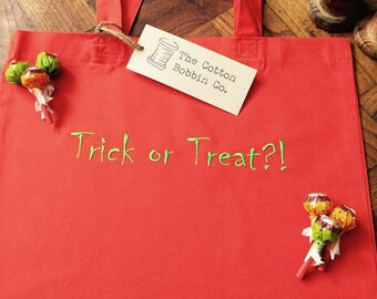 Children's Personalised Trick or Treat Orange Bag 100% Cotton Embroidered Trick or Treat Bag with Green Stitched Personalisation