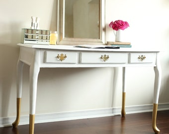 Gold dipped queen anne desk, vanity, console table, chic home office furniture - SOLD