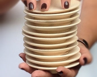 """Unfinished Wooden Plate, Wooden Shape, Unpainted, Decoupage, Natural Wood, Eco Friendly Diameter 10,5 cm (4,3"""") Wood Plates"""