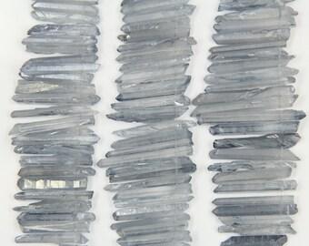 Approx 76pcs Blue titanium crystal quartz stick beads pendant,raw rock crystal point beads,4-6x25-40mm