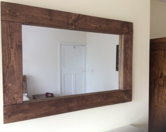 handcrafted rustic reclaimed wooden mirror in walnut wax - Reclaimed Wood Mirror
