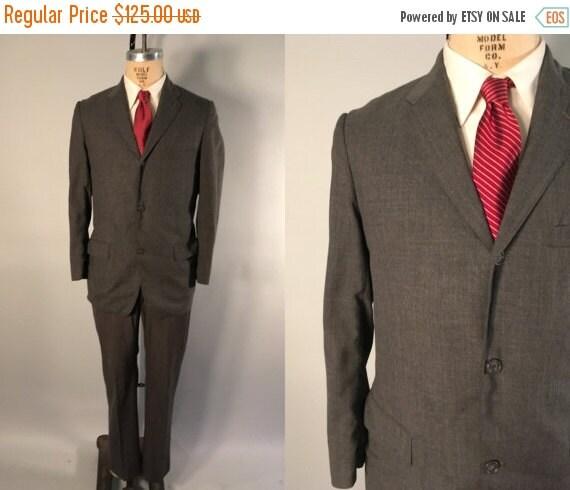 Vintage 1950s Mens Suit | Pewter Grey Wool Two Piece Suit | Size 38 $75.00 AT vintagedancer.com