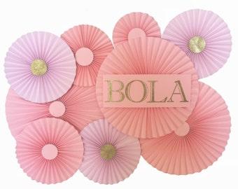 10 piece pinwheel backdrop, Rosette backdrop, pink and gold party backdrop, pink and gold birthday decor
