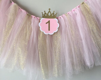 SALE! High chair tutu, Pink and gold birthday party, high chair banner, 1st birthday high chair banner, first birthday glitter tutu
