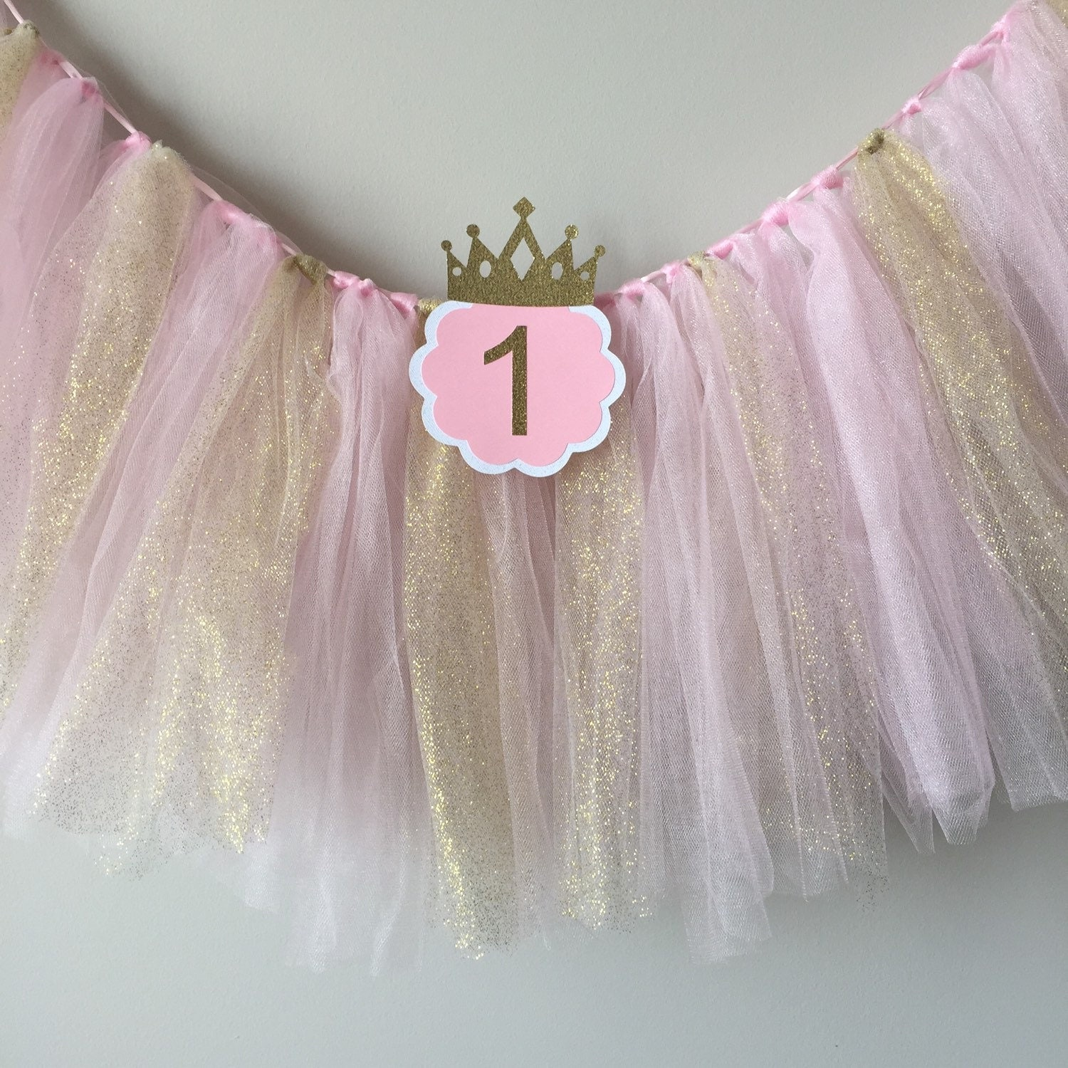 SALE High chair tutu Pink and gold birthday party high chair