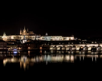 City Fine Art Photo: Prague Bridge Castle, Fine Art Black and White Photo from Prague Czech Republic