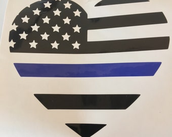 Blue Lives Matter American Flag Heart Shapped Decal