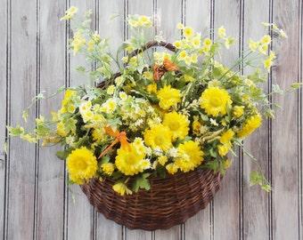 Door, Wreath, Vintage, Daisies, Asters, Colorful, Wall, Yellow, Summer, Wicker, Basket