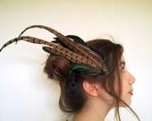 warrior princess shamanic tribal feather hairpiece with crow skull brass piece