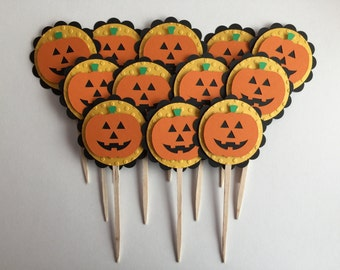 Handmade Jack-O-Lantern Cupcake Toppers - Set of 12, Halloween