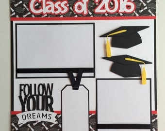 "Handmade Premade 12x12 ""Class of 2016"" Graduation Scrapbook Page Layout"