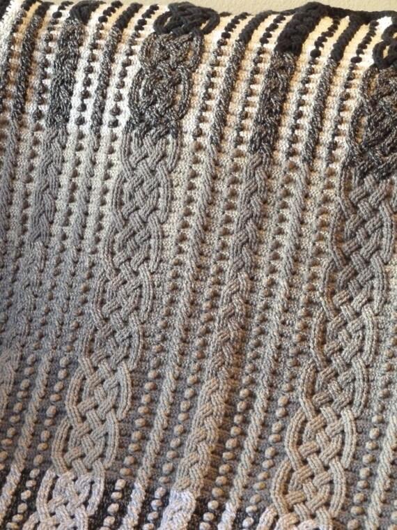 Gradient Cable Braided Crochet Aran Afghan Blanket Pattern