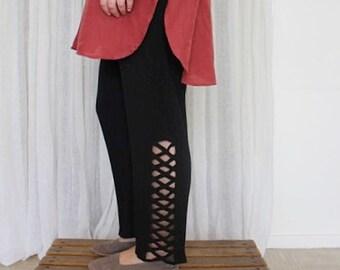 Sudoku / pants black / 90's / Vintage / minimalist / mesh / size M