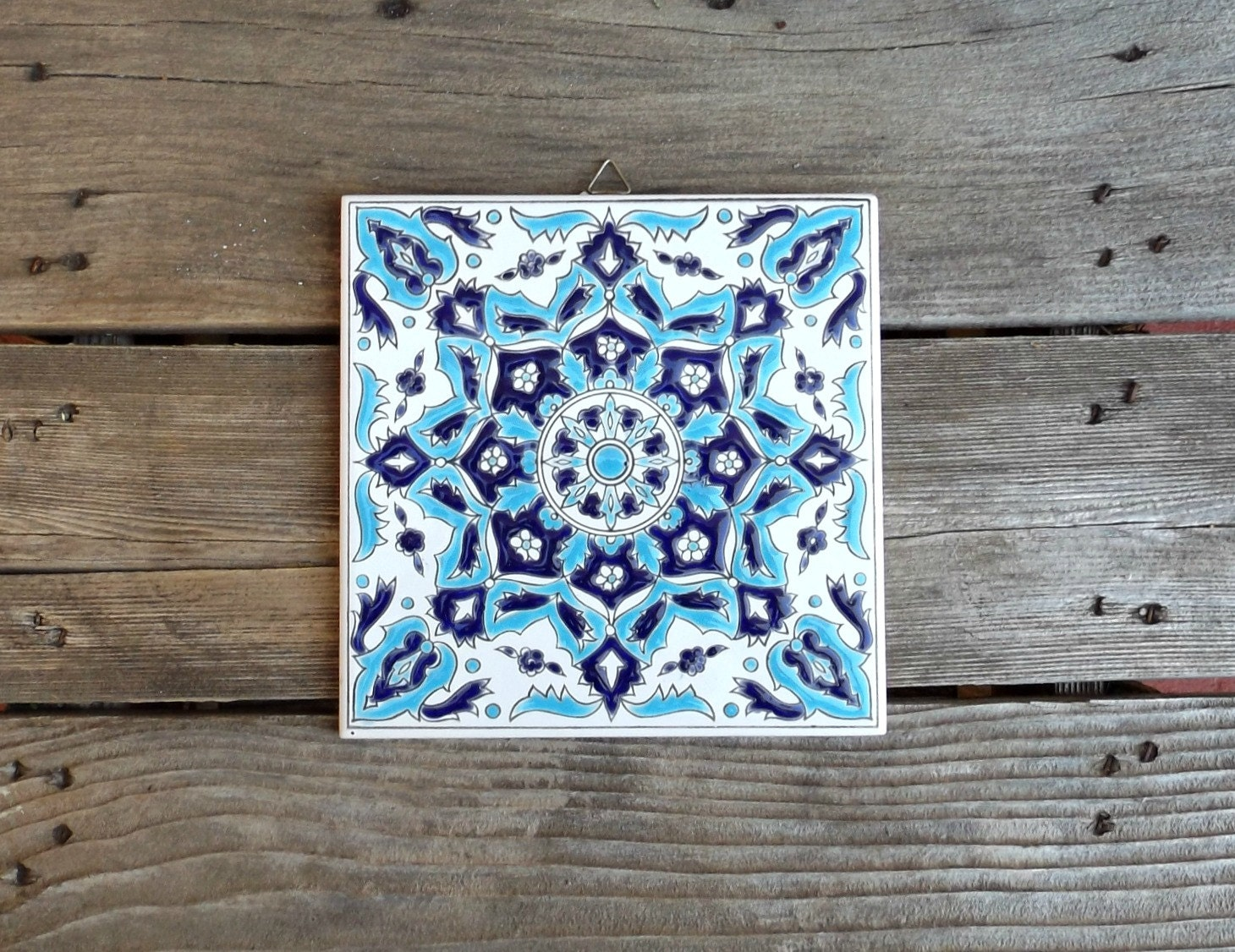 Hand painted ceramic tile from greece vintage ceramic trivet - Hand painted ceramic tile ...