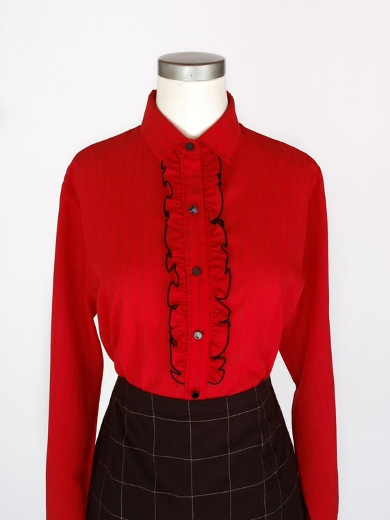 1970s red black pinstripe ruffle tuxedo blouse shapely for Red ruffled tuxedo shirt