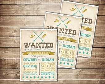 Cowboy and Indian Digital Invitation, Cowboys and Indians Birthday, Rustic Cowboy Invitation, Cowgirl Invite,Cowboy vs Indian Birthday Party