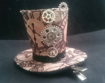 Handmade Steampunk inspired fascinator barrette hairclip with silver cogs