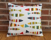Fish Novelty Sardines Yellow Green Red  Blue Nautical Decorative Home Decor Pillow Cushion Cover 16  40cm