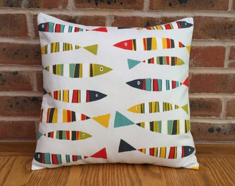 """Fish Novelty Sardines Yellow Green Red & Blue Nautical Decorative Home Decor Pillow Cushion Cover 16"""" / 40cm"""