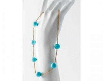Gold yellow and turquoise necklace Mineralife