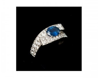 Ring Mineralife in Platinum, white gold, diamond and oval blue Sapphire