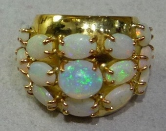 Ring ring Mineralife yellow gold and Opal Harlequin