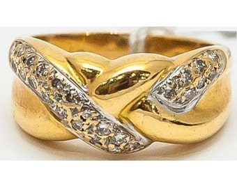 Yellow Gold twisted ring Mineralife and diamonds