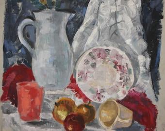 Vintage Oil Painting Impressionist Still life