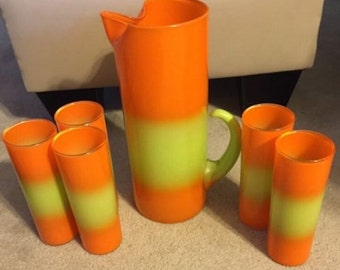 Vintage Blendo Glass Pitcher & 4 Lemonade Tumblers Orange Yellow Frosted