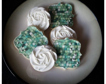 shabby chic/rosetta/mosaic tile sugar cookies