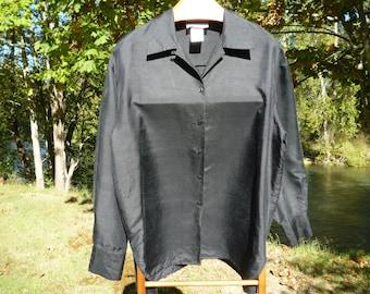 Black Silk The WORK Connection Large long sleeve silk shirt
