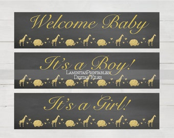 Water Bottle Labels, baby bottle labels, labels baby shower, elephant Baby shower, Baby shower safari, gold baby shower, chalkboard