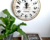 winery wall clock, shabby chic wall clock, vintage wall clock, wine wall clock, chardonnay