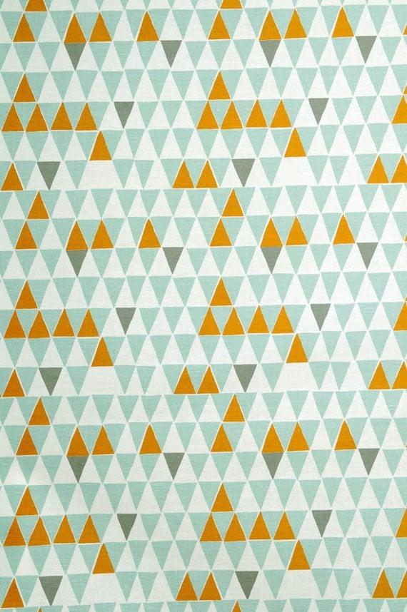 Orange fabric Triangle print fabric Geometric print fabric