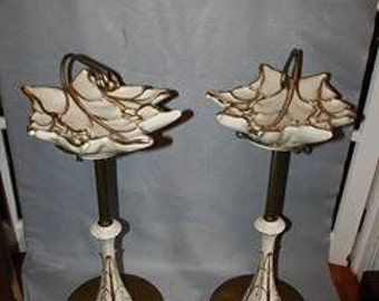 Vintage Pair Retro Ceramic Leaf Ash Tray Stands Gold Accent Candy Dishes 1940's 1950's Ashtrays
