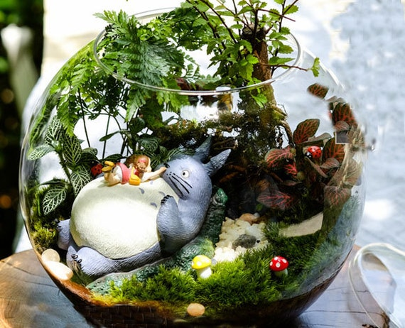 Girl lying in totoro fairy garden accessories by rukawabeads - Terrarium decoration miniature ...